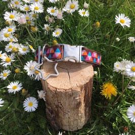 "Hundehalsband ""Dreiecke braun-pastell"""