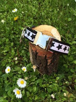 "Hundehalsband Sterne ""schwarz-weiß"""