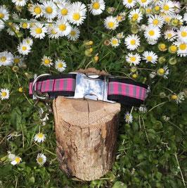 "Hundehalsband ""Streifen rosa/grau"""