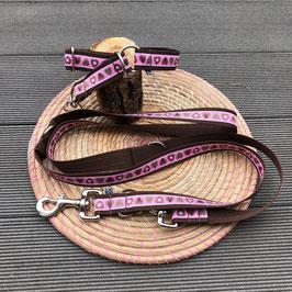 Zugstopphalsband  Alpenliebe pink auf braun + Schaufenleine oder verstellbarer Leine