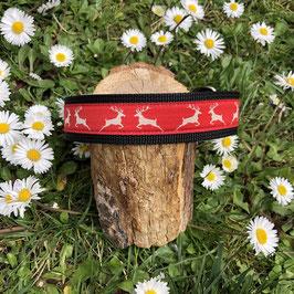 "Hundehalsband ""Hirschfamilie rot"""