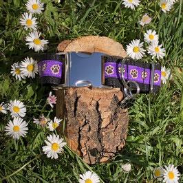"""Hundehalsband """"Pfötchen lila"""""""