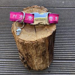 "Kleines Hundehalsband ""Totenkopf pink"""