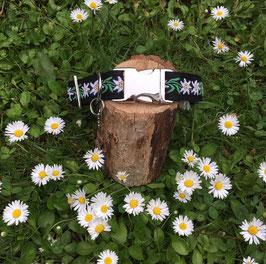 "Hundehalsband ""Edelweiß Blume schwarz"""