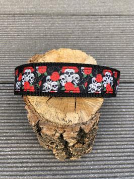 Hundehalsbänder Halloween Totenkopf mit roten Rosen