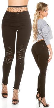 Sexy Highwaist skinny Jeans mit Metallplättchen
