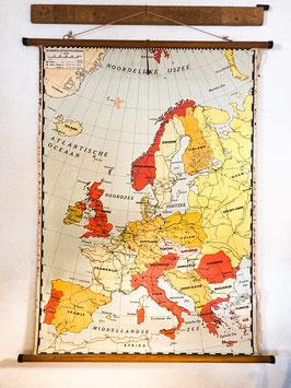 Vintage schoolkaart europa
