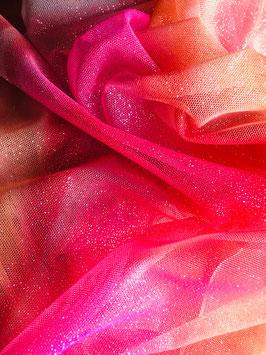 Netzstoff Magic Himmlisch-Orange-Pink-Silber mit Glitzer