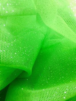 Netzstoff Pandora Neon-Grün-Silber mit Glitzer