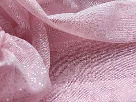 Netzstoff Pandora Rosa-Silber mit Glitzer