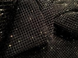 Netzstoff RETE Schwarz-Gold mit Glitzer