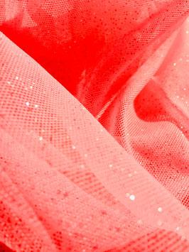 Netzstoff Pandora Neon-Rosa-Silber mit Glitzer