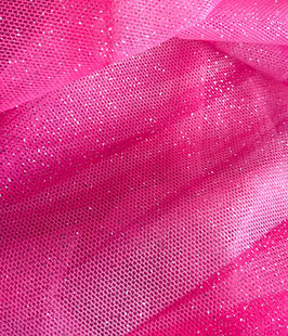 Netzstoff Magic Himmlisch-Pink-Silber mit Glitzer