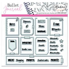 "Tampons transparents Bullet journal ""organisation semaine"" - Aladine"