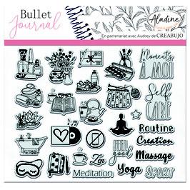 "Tampons transparents Bullet journal ""self care"" - Aladine"