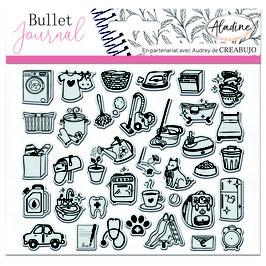 "Tampons transparents Bullet journal ""quotidien"" - Aladine"