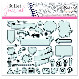 "Tampons transparents Bullet journal ""bannières et icônes"" - Aladine"