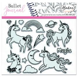 "Tampons transparents Bullet journal ""licornes"" - Aladine"
