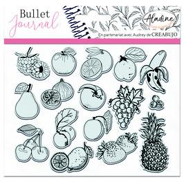 """Tampons transparents Bullet journal """"fruits"""" - Aladine"""