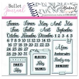 "Tampons transparents Bullet journal ""organisation mois"" - Aladine"
