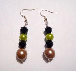 Ohrringe beige/schwarze/grün