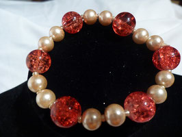 Armband beige/rot