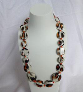 Kette schwarz/weiß/orange