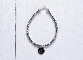 Anker Armband mit schimmernden Glasschliffperlen
