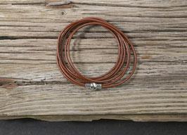 Braunes Leder Wickelarmband mit Magnetverschluss