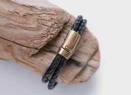 Männerarmband Schwarz/Bronze