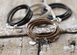 Nappaleder Armband, personalisiert, 925er, 2 Anhänger