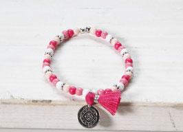 Boho Armband ♥ Hippie Armband ♥ Pink/Weiß ♥ Quaste ♥ Münze