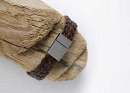 Männerarmband Braun/Silber (geflochten)