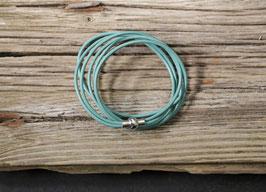 Leder Wickelarmband mit Magnetverschluss, türkisfarben