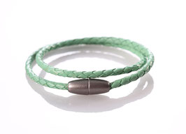 "*Neu*:Echt Leder Wickelarmband ""Green Pastel"""