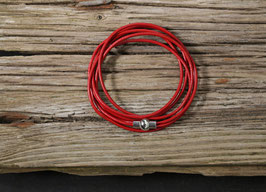 Rotes Leder Wickelarmband mit Magnetverschluss