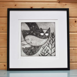 'Above The Pines' Owl In Pine Forest Etching Print