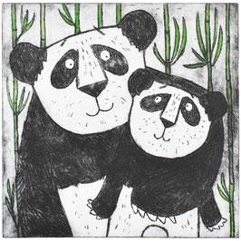 'Pandas' Panda Bear Etching Art Print