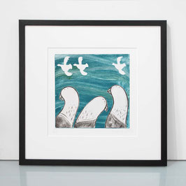 '3 Pigeon' Dry Point Pigeon Etching Print