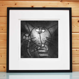 'Licking Paw Cat' Cat Etching Print