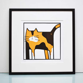 'Naughty Tortie' Tortoiseshell Cat Screenprint