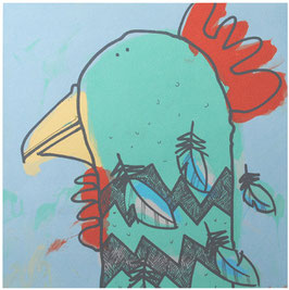 'Hen Looking Left' Chicken Screen Print