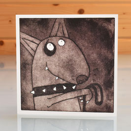 'Walkies' English Bull Terrier Dog Blank Inside Greeting Card