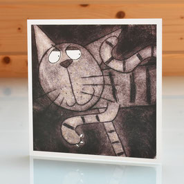 'On The Prowl' Cat Blank Inside Greeting Card