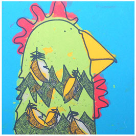 'Hen Looking Right' Chicken Screen Print