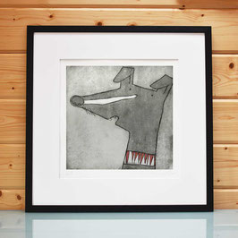 'Standing Whippet' Dog Etching Print