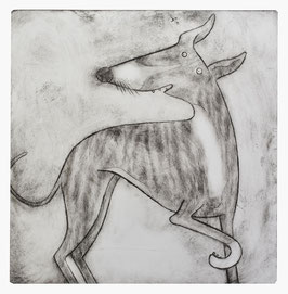 'Nancy' Brindle Whippet Print (Black and White)