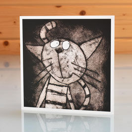 'Cat' Blank Inside Greeting Card