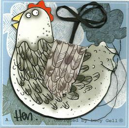 Pop-Up 3D Hanging Grey Hen / Chicken Bird Greeting Card