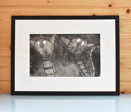 'Psst!' Cat Etching Print